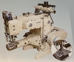 Kansai Special KC2703/UTC-E cilindrinės platformos pramoninė plokščiasiūlė siuvimo mašina su viršutiniu ir apatiniu padengimu