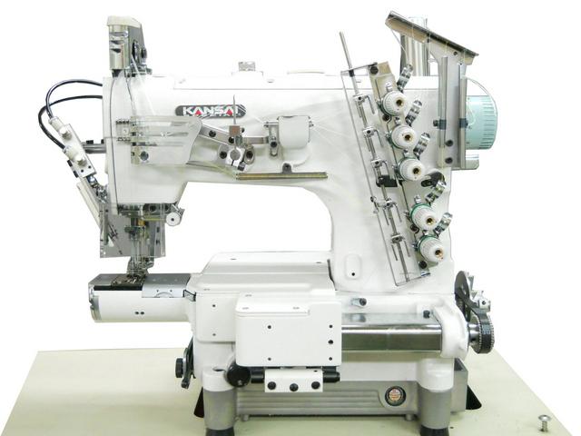 Kansai Special NC serijos plokščiasiūlė siuvimo mašina su ypatingai mažo diametro cilindrinė platforma su viršutiniu ir apatiniu padengimu