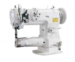 RUBINA RB-2263 pramoninė tiesiasiūlė mašina su cilindrine platforma sunkiems audiniams su trigubu audinio padavimu ir padidinta šaudykle