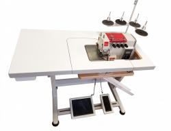Rubina RB-700B serijos krašto apmėtymo mašina (4 siūlų)  su įleistu stalu (made in Germany)